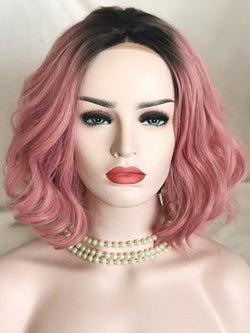 Alicia Pink Ombre Wave Bob Synthetic Lace Front Wig DL0026 - princesswig