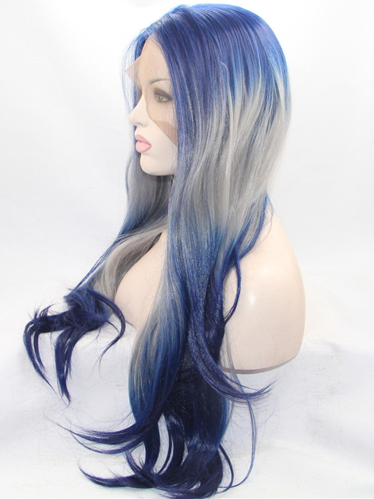 Iris Mixed Blue Ombre Straight Synthetic Lace Front Wig DL0027 - princesswig