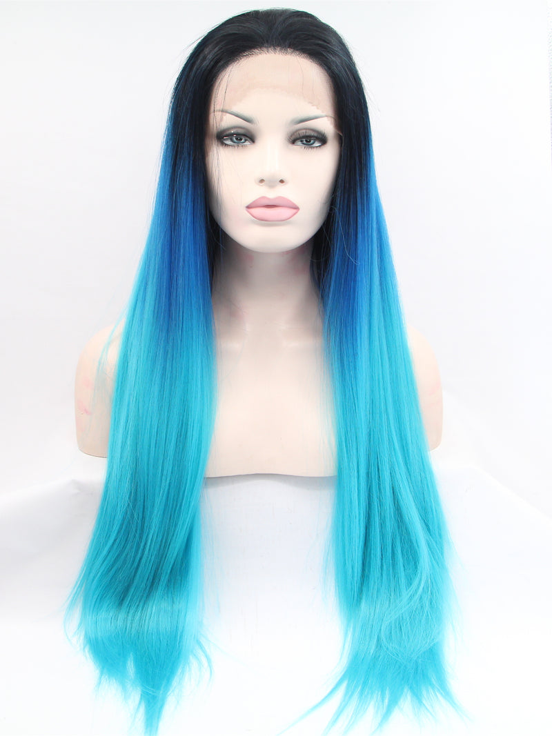 Sheila Blue Ombre  Synthetic Lace Front Wig DL0032 - princesswig