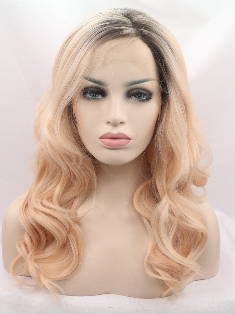 Adele Peach Ombre Wave  Synthetic Lace Front Wig DL0033 - princesswig