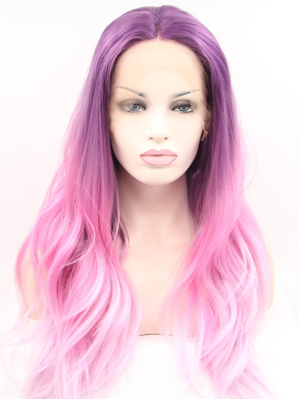Cassandra Pink Pastel Wave Synthetic Lace Front Wig DL0037 - princesswig