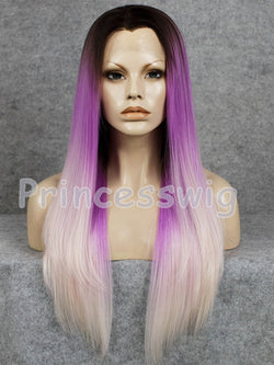 Bonnie Pastel Purple Blonde Ombre Synthetic Lace Front Wig DL0042 - princesswig