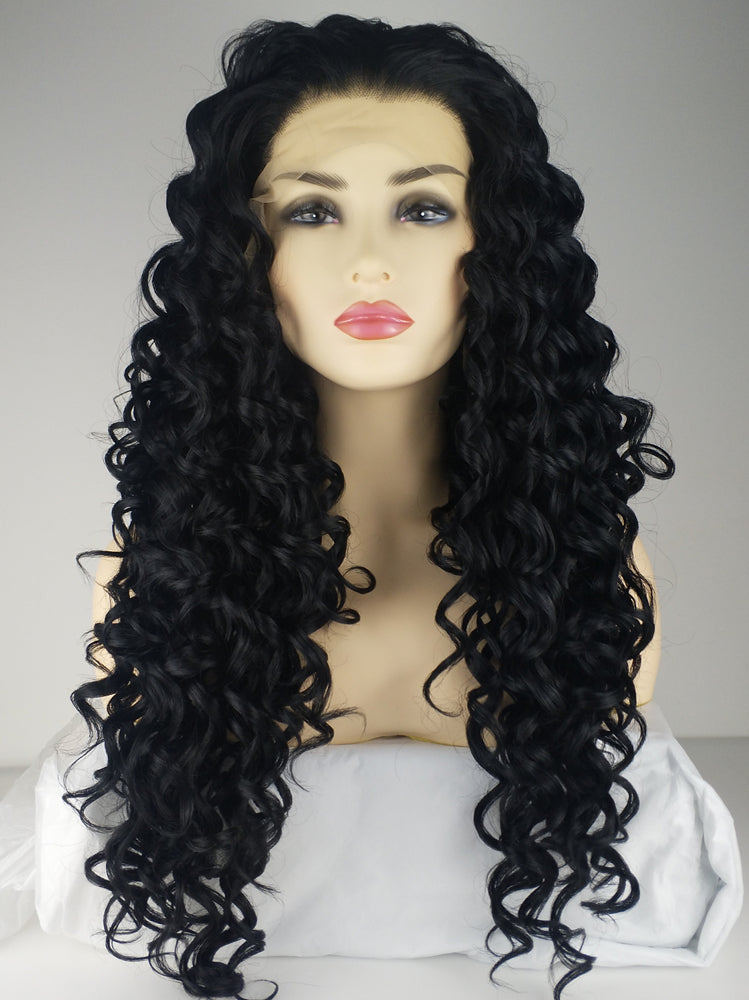 Taylor Black Wave Handtied Synthetic Lace Front Wig DL0049 - princesswig