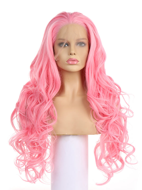 Fairy Dark Pink Handtied Synthetic Lace Front Wig DL0053 - princesswig
