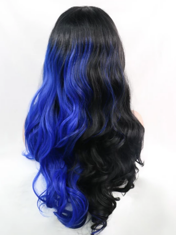 Magical Blue and Black Handtied Synthetic Lace Front Wig DL0054 - princesswig