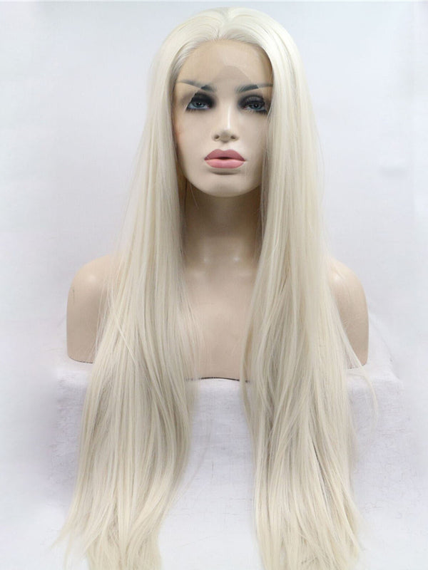 Daenerys Targaryen White Blonde Straight Handtied Synthetic Lace Front Wig DL0062 - princesswig