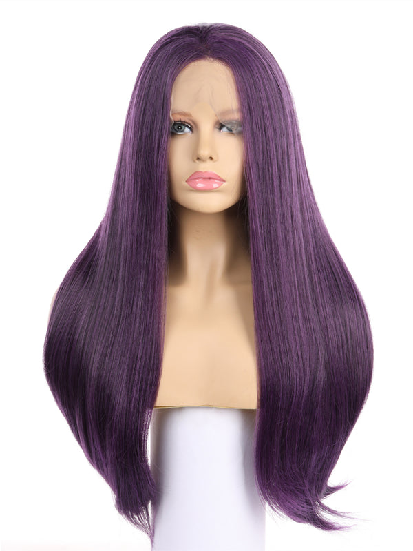 Jennifer Purple Straight Handtied Synthetic Lace Front Wig DL0063 - princesswig