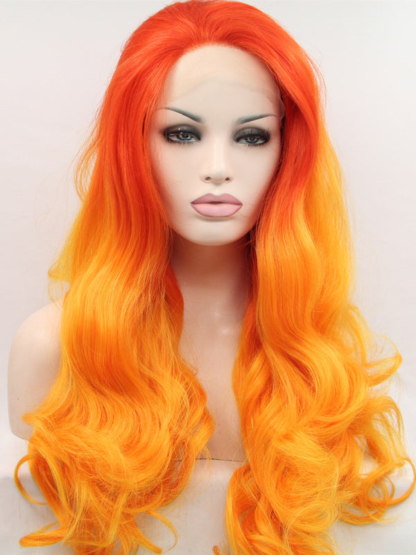 Editha Orange Pastel Wave Synthetic Lace Front Wig DL0064 - princesswig