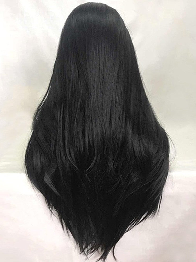 Nina Black Long Straight Synthetic Lace Front Wig DL0068 - princesswig