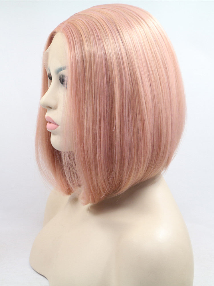 Tiffany Peach Pink Straight Short Bob Synthetic Lace Front Wig DL0072 - princesswig
