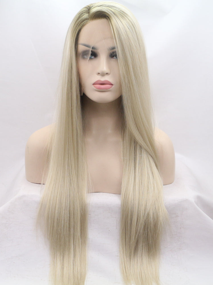 Ellen Ashy Blonde Synthetic Lace Front Wig DL0024 - princesswig