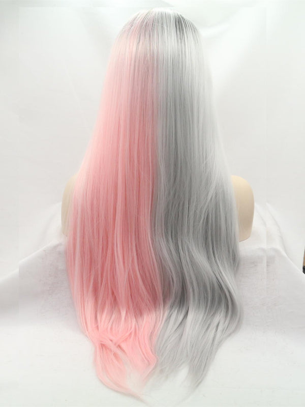 Daisy Pink and Gray Wave Synthetic Lace Front Wig DL0029 - princesswig