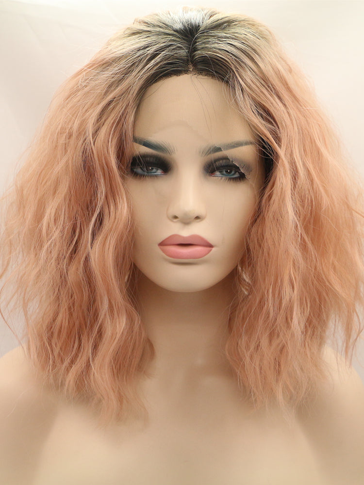 Amanda Pink Wave Bob Synthetic Lace Front Wig DL0014 - princesswig