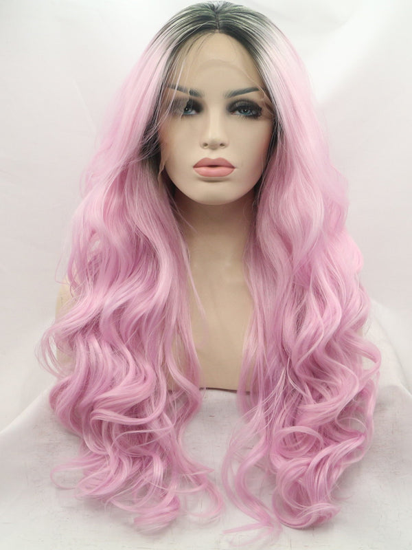 Ava Dark Pink Synthetic Lace Front Wig DL0021 - princesswig