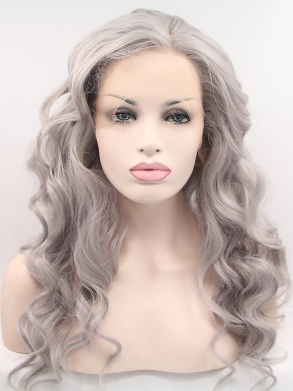 Emily Silver Wave Synthetic Lace Front Wig DL0017 - princesswig