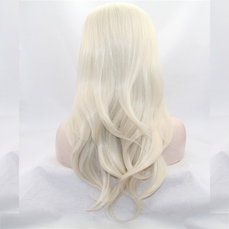 Elsa White Blonde Body Wave Synthetic Lace Front Wig DL0003 - princesswig