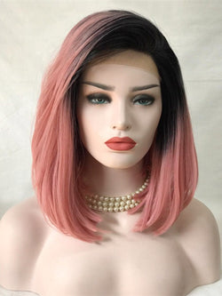 Jeffrey Pink Ombre Straight Bob  Handtied Synthetic Lace Front Wig DL0060 - princesswig