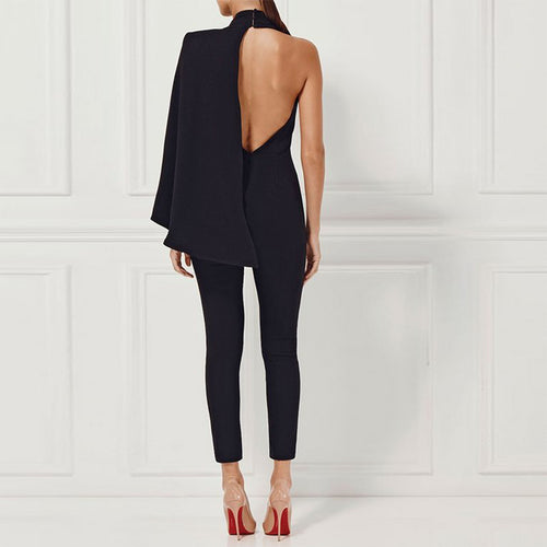 Fashion Black Backless Jumpsuit