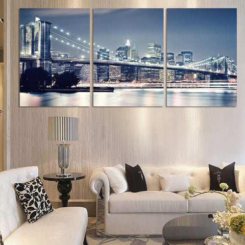 Night Brooklyn Bridge Print Painting Wall Decorative (3 Panels/Set)