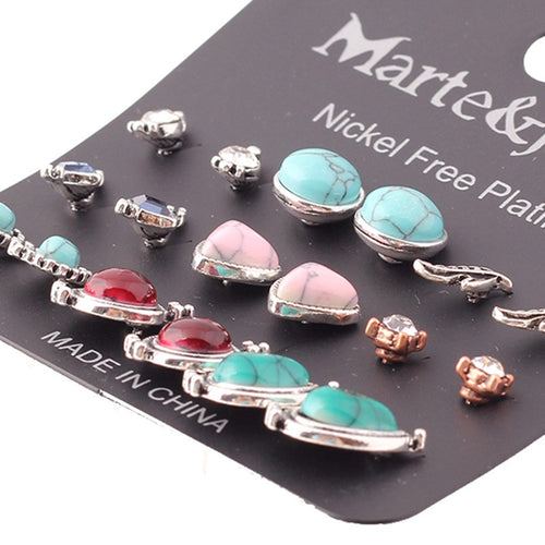 Retro Green Stone Stud Mixed Leaf Round Triangle Earring Sets