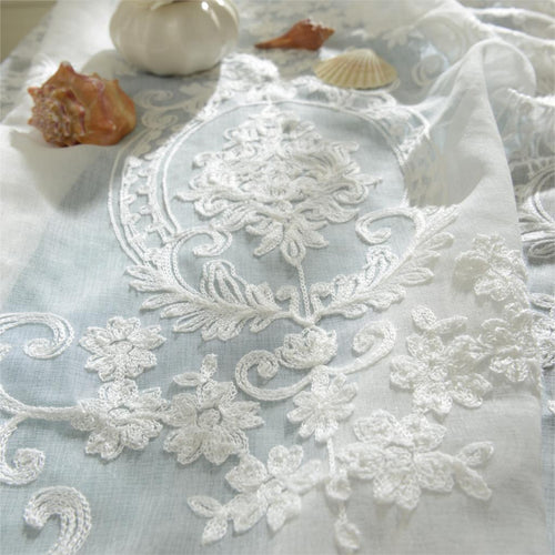 Luxury embroidered white Curtains