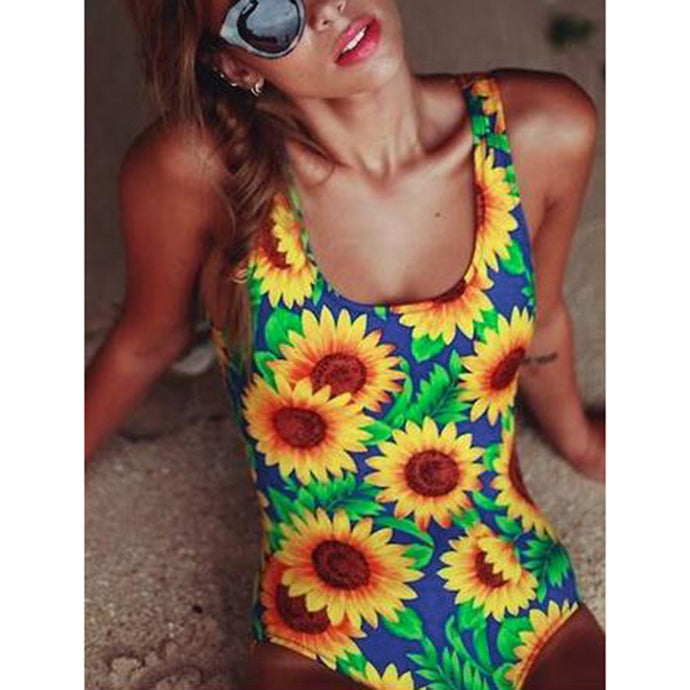 Lovely Sunflower One Piece Swimsuit