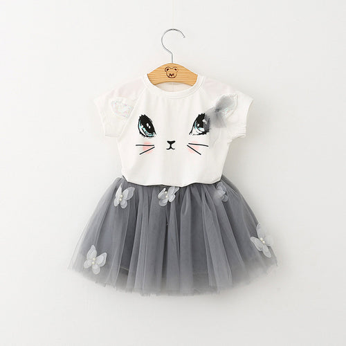 Cute Cartoon Short Sleeve Girls Dress