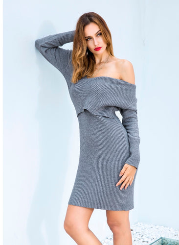 Sweater V Neck Long Sleeve Dress