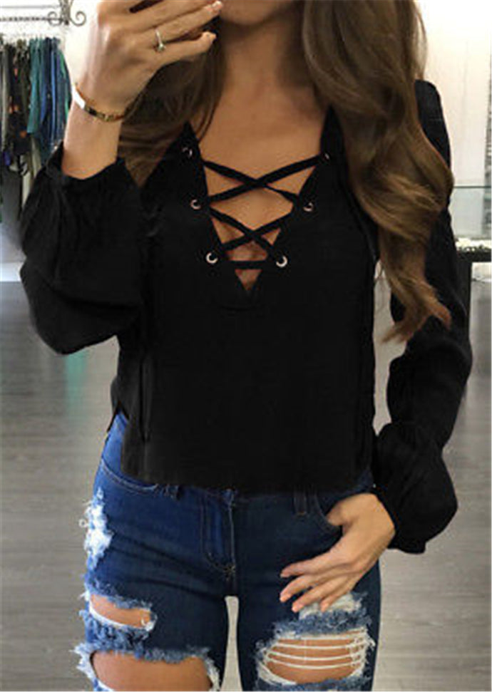 Sexy Lace-up V Neck Women Top