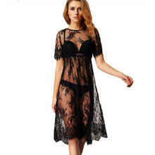 Sexy Ladies See Through  Black Floral Lace Dress