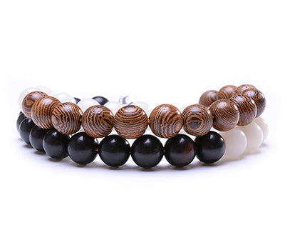 Natural 3 Color Wood Beads Bracelet