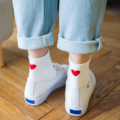 Cute Heart Pattern Cotton Socks