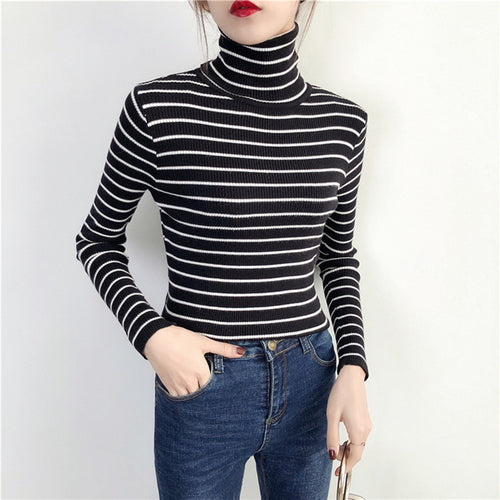 Black&White Striped Turtleneck Sweater