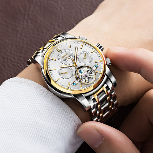 Automatic Mechanical Gold Stainless Steel Watch