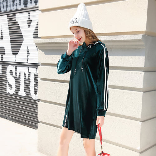 Winter Dark Green Loose Dress