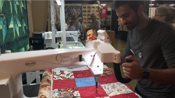 Quilting in the city of San Luis Obispo California to make leather wallets