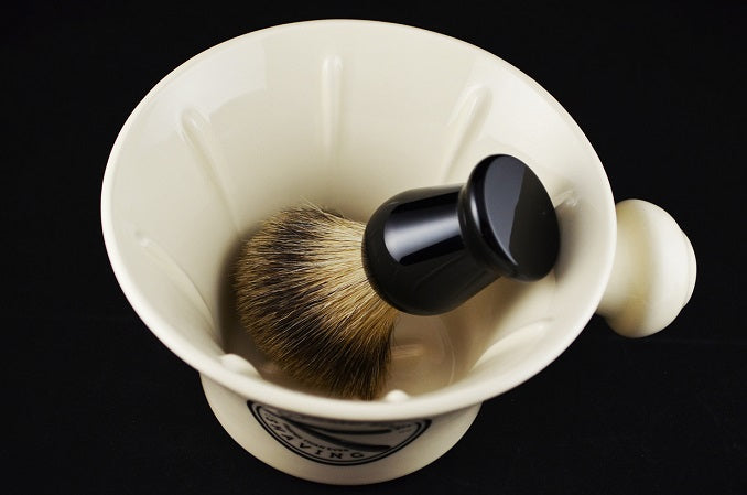 Classic Edge 4-Piece Luxury Shave Set w/ Apothecary Mug, Shaving Cream, Pure Badger Brush and Stand