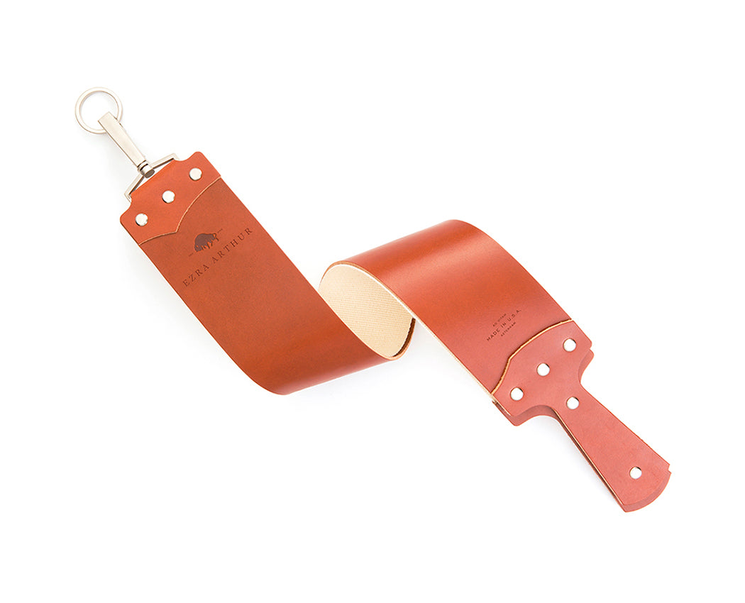 "Ezra Arthur 3"" English Bridle Razor Strop in Cognac"