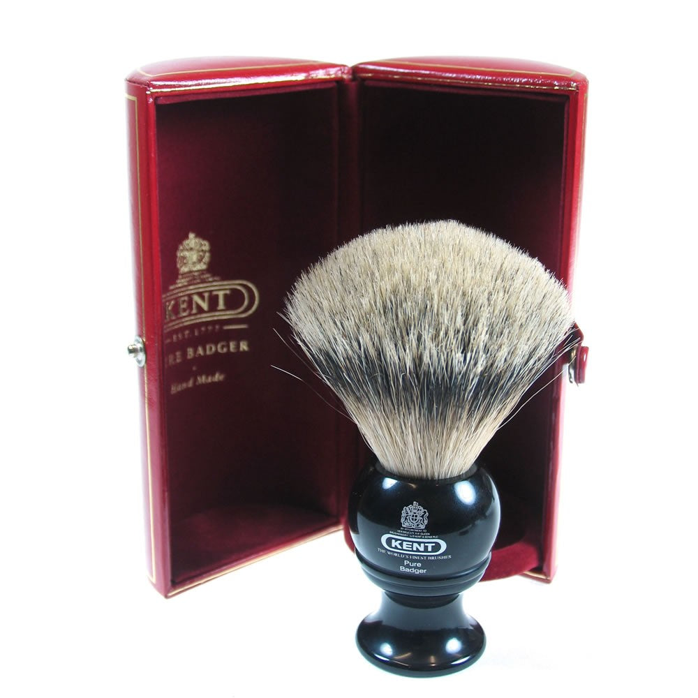 Kent BLK4, Medium Size Pure Silver Tip Badger Brush