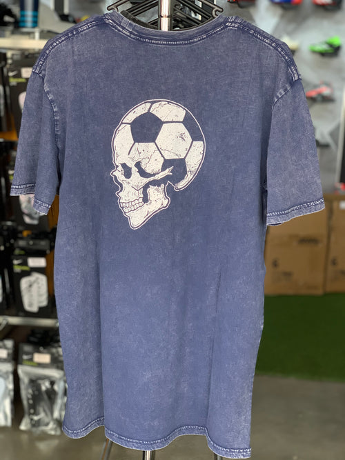 Football Brain T shirt - Vintage Stonewash Blue