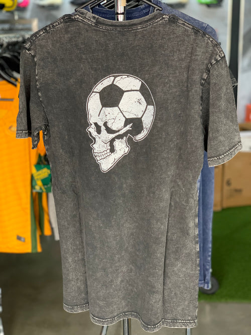 Football Brain T shirt - Vintage Stonewash Black