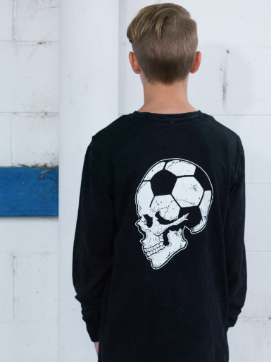 Football Brain Long Sleeve Shirt Youth Acid wash black