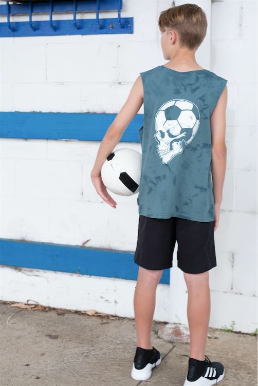 Football Brain Youth Tank Teal