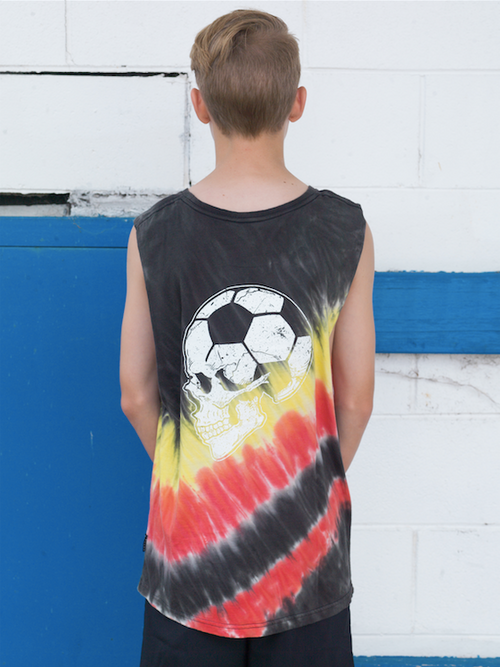 Football Brain Youth Tank Sunset Tie Dye