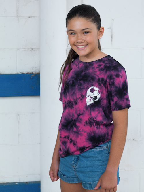 Football Brain T Shirt Youth Volcano Tie Dye