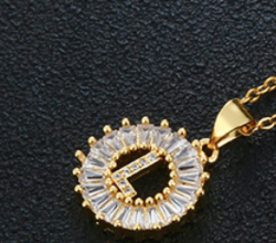 Sunburst Crystal Initial Necklace