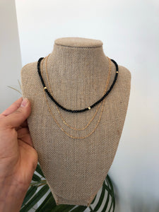 Black Bead Layered Necklace