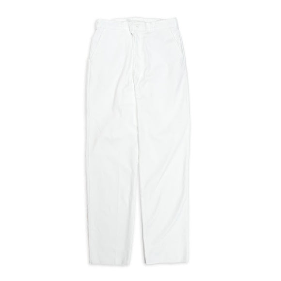 chef pants-White Zippered Chef Pant