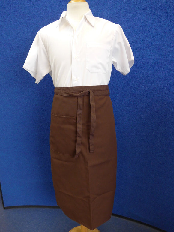 brown bistro apron with pocket
