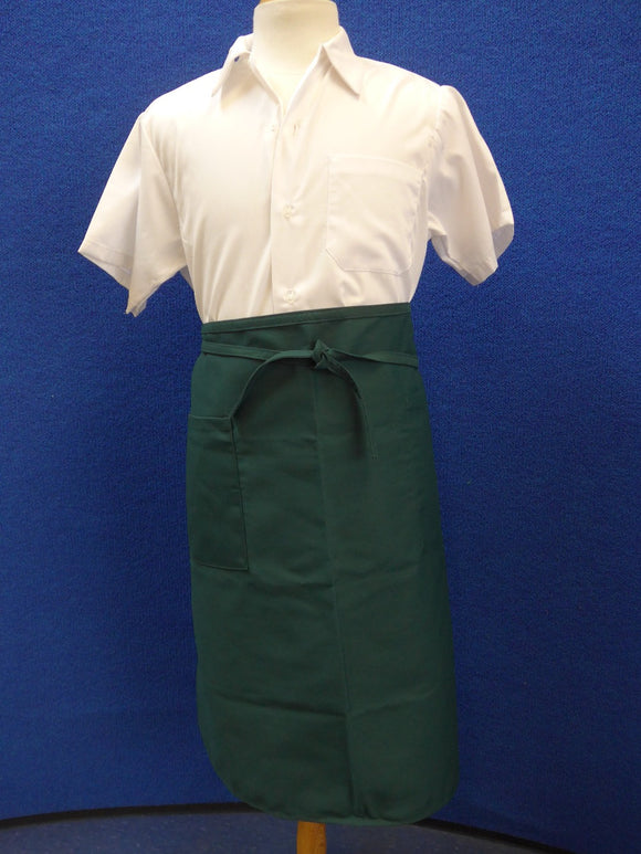 forest green bistro apron with pocket